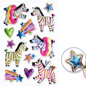 12 3D Puffy Foil Zebra Stickers (1 Sheet)